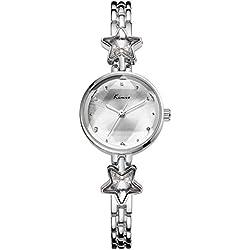 Fashion Fünfzackiger Stern Armband-Uhr Kleid-Uhren Legierung Metall Uhrenarmband Quarz Armbanduhren Für Damen Mädchen, Silber