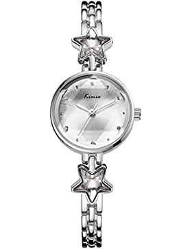 Fashion Fünfzackiger Stern Armband-Uhr Kleid-Uhren Legierung Metall Uhrenarmband Quarz Armbanduhren Für Damen...