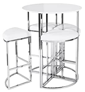 New dwell style gloss white orbit bar table set inc 4 for Ensemble table ronde 4 chaises