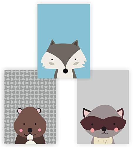 greenluup 3er Set Kinderposter Tiere Waldtiere Fuchs Waschbär Blau Hellblau Poster Wandbild Kinderzimmer Babyzimmer Kinder Baby Mädchen Junge Wanddeko -