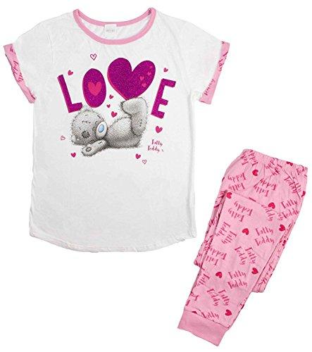 Pigiama da donna in cotone morbido, a lunghezza intera, idea regalo di natale, motivo: personaggi dei fumetti tatty teddy - love x-large