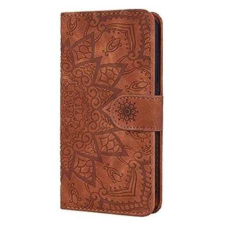Karomenic Prägen PU Leder Hülle kompatibel mit Huawei P Smart 2019 Mandala Muster Handyhülle Brieftasche Schutzhülle…