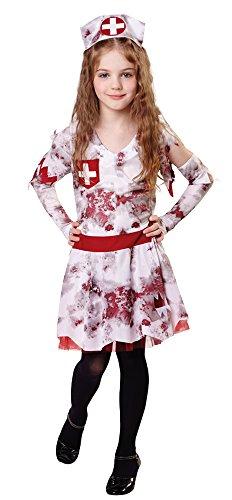 4Zombie Krankenschwester (M), mittel 122cm–134cm (Kinder Walker Halloween Kostüm)