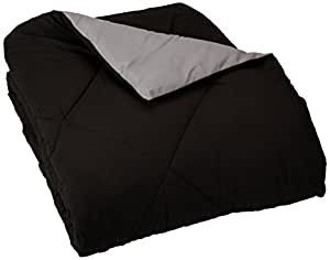 AmazonBasics Reversible Microfiber Comforter - Single Large, Black