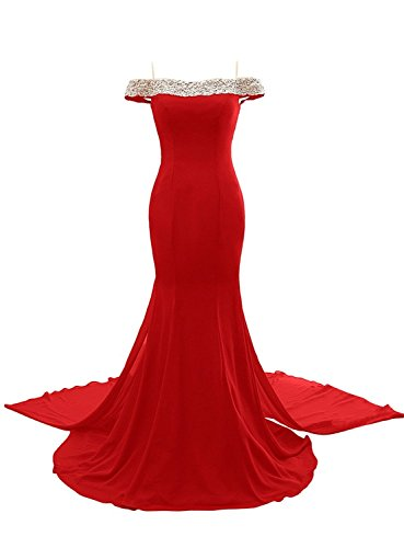Promworld Damen A-Linie Kleid blau Pool Rot