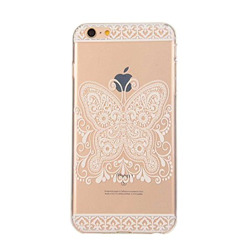 iPhone 6S Ultra Mince Fine Doux TPU Transparente Original Peinture Colorisée Serie - Anti choc Coque Case Etui Protection pour Apple iPhone 6 6S 4.7 inch - Fleur blanche color-10