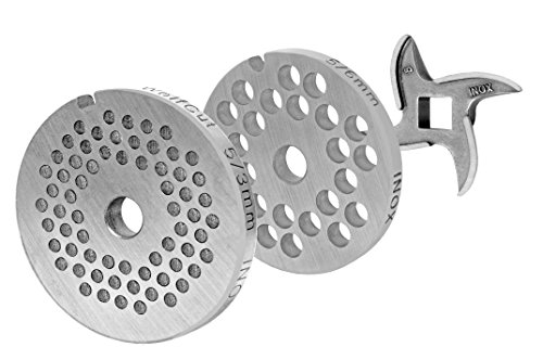 WolfCut Lochscheibensatz für Alle Fleischwolf Größen 5/2,0 mm + 6,0 mm und 1 Sichelmesser - für Fleischwolf Jupiter - Bosch - Alexanderwerk
