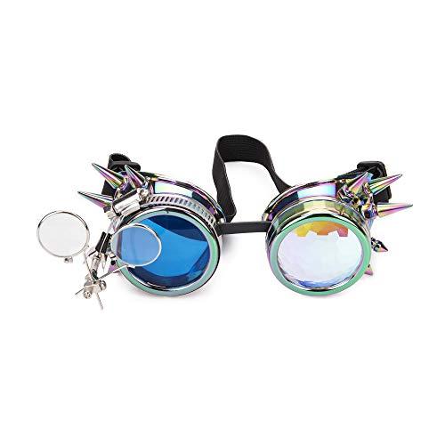 AFUT Besetzte Steampunk-Vintage-Brille, Gotische Schweißer-Cyber-Gläser, Rave-Zubehör-Cosplay-Gläser