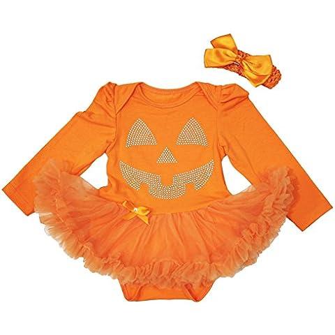 Halloween vestido Rhinestone Calabaza cara naranja L/S Body de tutú bebé nb-18m