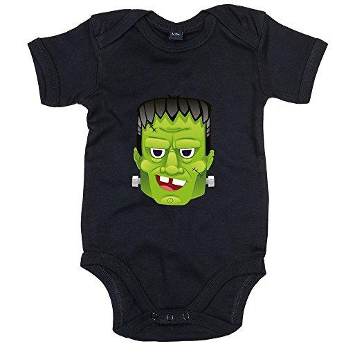 Frankenstein Babystrampler #2 | Halloween | der Moderne Prometheus | Monster | Unhold | Bodysuit | Babybody | Babyeinteiler | Oeko-Tex ® 100 Standard, Farbe:Schwarz (Black BZ10);Größe:12-18 Monate