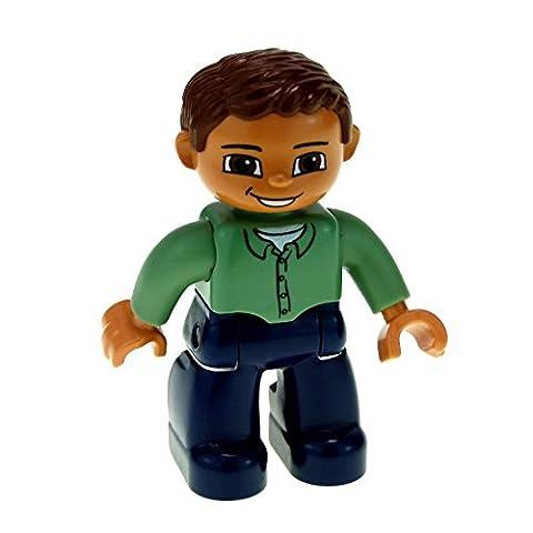 1 x Lego Duplo Figur Mann blaue Hose grünes Hemd braune Haare lächeln 47394 F35