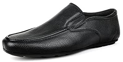 Escaro Men's Black Formal Slip On Dress Shoes (ES1057GN_BLACK_10)