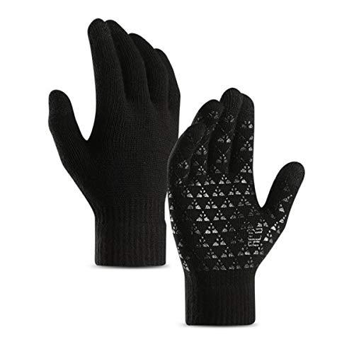 Jinxuny Herren Winterhandschuhe Freddo Taktile Handschuhe warm Winddicht gefüttert Fleece für Damen Outdoor Radsport Klettern Wandern Free Size Black+White -