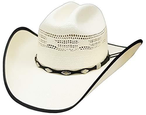 12125ba01de0d Modestone Straw Cappello Cowboy Bangora Studs Hatband Fabric Brim Edge  off-White
