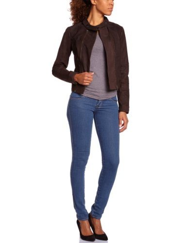 VERO MODA Damen Jacke 10086600 EBONI SHORT LEATHER JACKET, Gr. 38 (M), Braun (MOCCA)