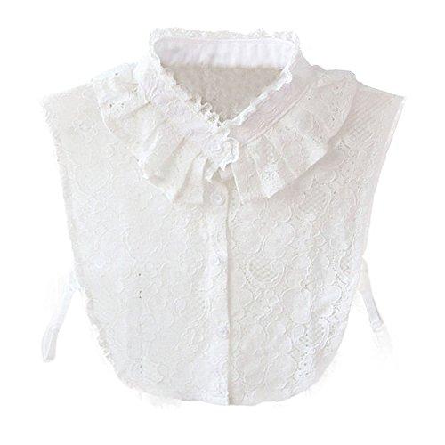Hanmorla Damen Abnehmbarer Weiß Kragen HemdKragen Bluse Chiffon (Kragen)