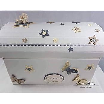 Erinnerungstruhe Erinnerungsbox STERNENKIND CREME-GRAU Geschenkschachtel
