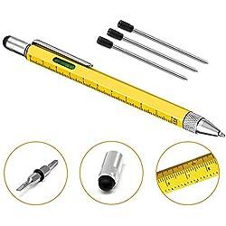 6 en 1 Multi Herramienta Pen - Stylus de pantalla táctil con regla de escala, nivel de espiral, pequeño destornillador, negro Gadget bolígrafo con 4 recambios de bolígrafo