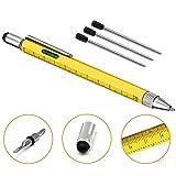6 in 1 Multifunktions Kugelschreiber - Touchscreen Stylus Stift mit Skala Lineal, Wasserwaage, Mini Schraubendreher Set, Schwarzer Handy Gadget Kugelschreiber mit 4 Ersatzminen