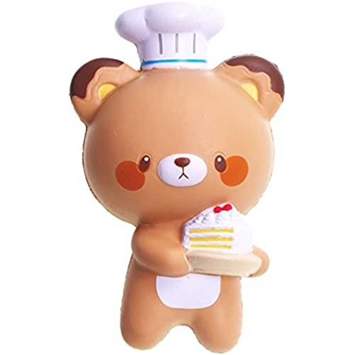 juguetes kawaii VLAMPO Yumeno Squishy Stress Toys Squishies Soft Slow Rising Chef Bear 5.7 1 Pieza (marrón)