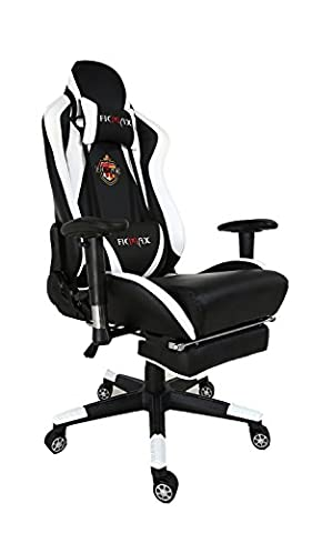 Ficmax Large Size High Back Ergonomic Gaming Chair Racing Seat with Massaging Lumbar Support and Adjustable Footstool