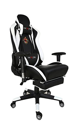 Ficmax Grande Taille Fauteuil de Bureau Chaise PC Gamer Ergonomique avec LombaireCoussin de Massage et Réglable Repose-pied, blanc / noir