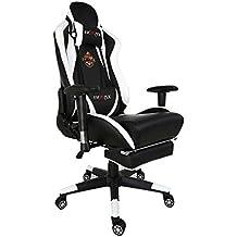 Ficmax talla grande ergonómica silla giratoria de oficina gamer con masaje soporte lumbar y reposapiés ajustable, blanco / negro