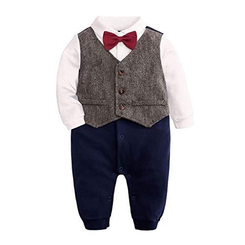 TTLOVE_Baby Jungen Strampler Neugeborenes Säugling Smoking Anzug Langarm Gentleman Fliege Bodysuit Taste Runter Overall Kleidung Für 0-24 Monate (rot,(3,0-3 Monate)) (Drei-tasten-anzug)
