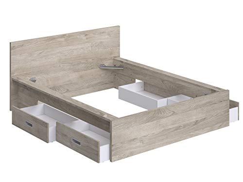 Movian Havel modernes  Doppelbettgestell mit Kopfteil und 4 Schubladen, 196 x 162,2 x 80, Eiche Optik