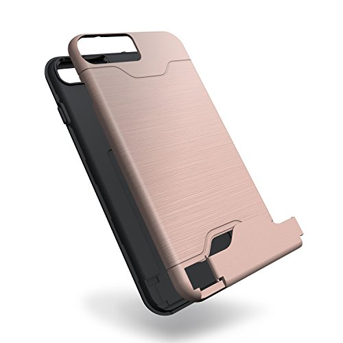 Cover iPhone 7 Plus, Riffue [VIVA] Flessibile TPU e Dura del PC Dual Layer Slot Card Protection Custodia Case per iPhone 7 Plus - Nero Rosa