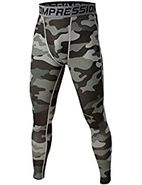 Vertvie Men's Sports Compession Pants Tight Baselayer Leggings (S, ArmyGreen)