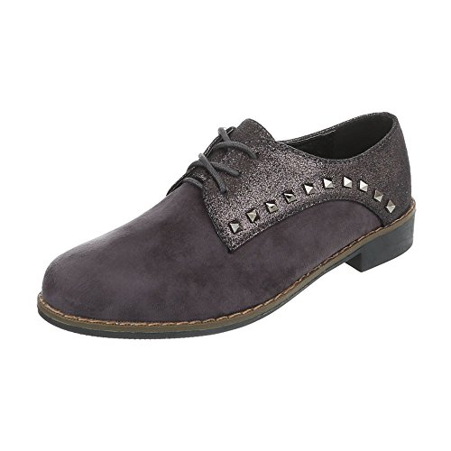 Ital-Design Chaussures Femme Mocassins Bloc Chaussures a Laniere gris foncé 4396