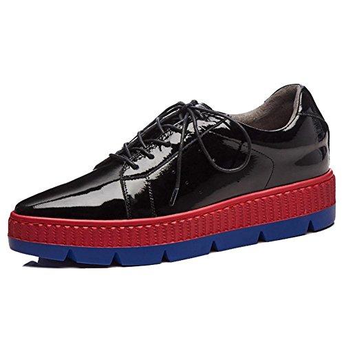 KJJDE Plateauschuhe Damen Creepers Schuhe WSXY-A1110 Perforiert Keilabsatz Einfache Serie, Black, 38