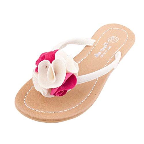 Longra Donna Fiore Home Furnishing Beach pantofole dei sandali Rosa caldo