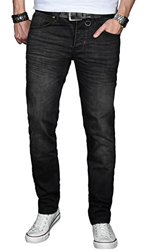 A. Salvarini Designer Herren Jeans Hose Basic Stretch Jeanshose Regular Slim [AS027 - Schwarz - washed - W36 L30]