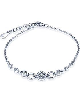 Unendlich U Fashion Musiknote Damen Charm-Armband 925 Sterling Silber Zirkonia Armkette Verstellbar Armkettchen...