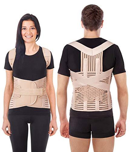 LUX Haltungskorrektur Geradehalter Schulter Rücken Haltungsbandage Posture Corrector Haltungstrainer mit verstellbare Größe verstellbar aus dem hochwertigsten Neopren Beige ()