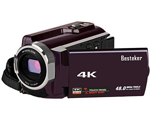 Kamera Camcorder 4K, Besteker Videokamera 48 MP Kamera mit WIFI-Funktion, IR Nachtsicht, 16X Digital Zoom, 3,0 Zoll Touchscreen und SD / TF-Karte Unterstützt Weitwinkelobjektiv