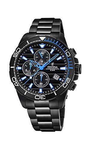 Festina Herren Chronograph Quarz Uhr mit Edelstahl Armband F20365/2