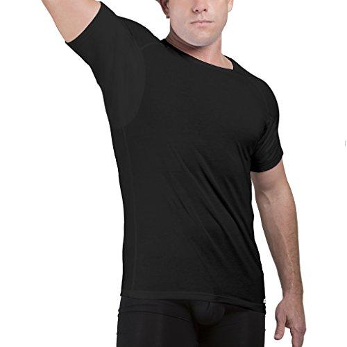 Tagless Rundhalsausschnitt T-shirt (Ejis Schweißfestes Herren unterhemd mit Schweißeinlagen und antimikrobiellem Silber, Baumwoll-Rundhalsausschnitt (XX-Groß, Schwarz))