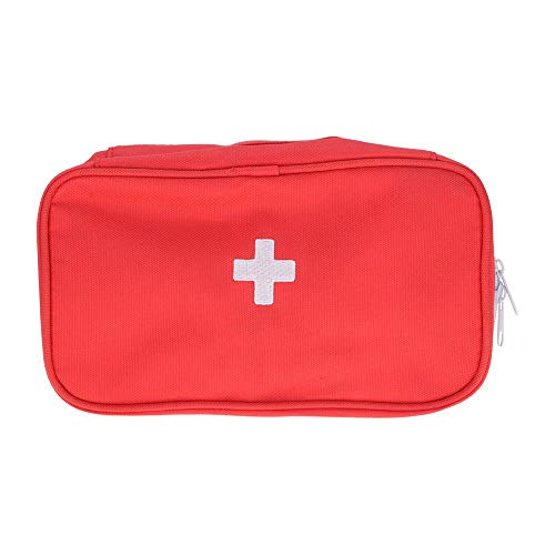 HJUOS Tragbare Medical First Aid Kit Car Home Survival Office Travel Personal First Aid Kit-Small Light Medical Bag Wound Trauma Outdoor Mini Canvas Camping Wanderarbeit und Reisen,Red -