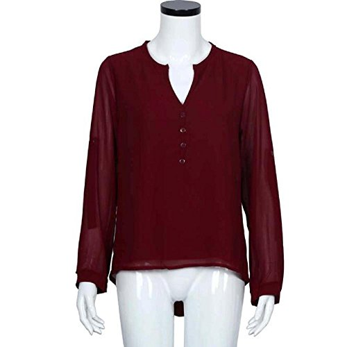 Unregelmäßigen Chiffon-bluse (BakeLIN Langarmshirt Damen Frühling Sommer Mode Lässige Frauen Lose Chiffon Rüschen Unregelmäßige Tops Hemd T Shirt Bluse (S~3XL) (Rot, XXXL))