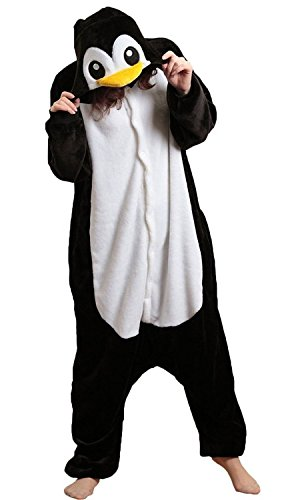 JT-Amigo Damen Herren Tier Kostüm Pyjama Jumpsuit Schlafanzug Overall, Pinguin Kostüm, Gr. XL