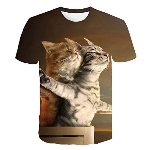 TEBAISE T-Shirt Herren Damen 3D Druckten T-Shirts Unisex 2019 Sommer Lustige Beiläufige Kurzarmshirt 3D Tier Gedruckt Kurze Hülsen Shirts Tees mit Karikatur Katze 3D Druckmuster