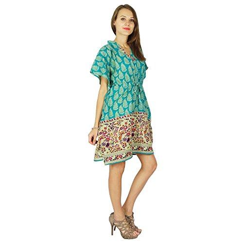 Kurze Baumwollmaxi Nachtzeug Phagun Kaftan Tunika Bohemien Neues Kleid  Kaftan Teal Blau und Beige