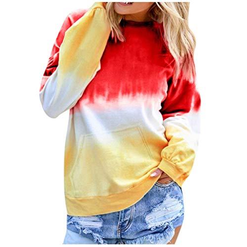 Alwayswin Frauen Casual Langarm Pullover Kontrastfarbe Sweatshirt Herbst Lange Hülsen Tops Mode O-Ausschnitt T-Shirt Langarmshirts Streetwear Sweater Sweatshirts Oberteile