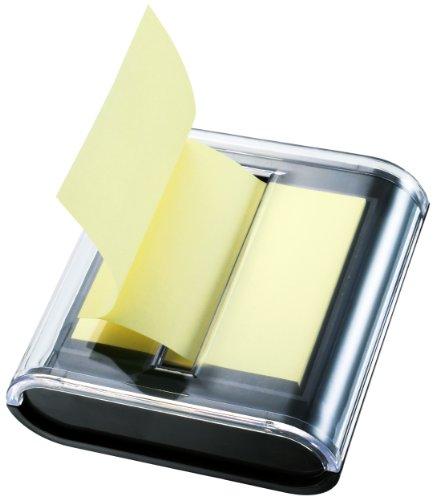 Global Notes 5643-01 Info Spender für Haftnotizen mit Z-Faltung 75 x 75 mm, 50 Blatt in pastellgelb/schwarz