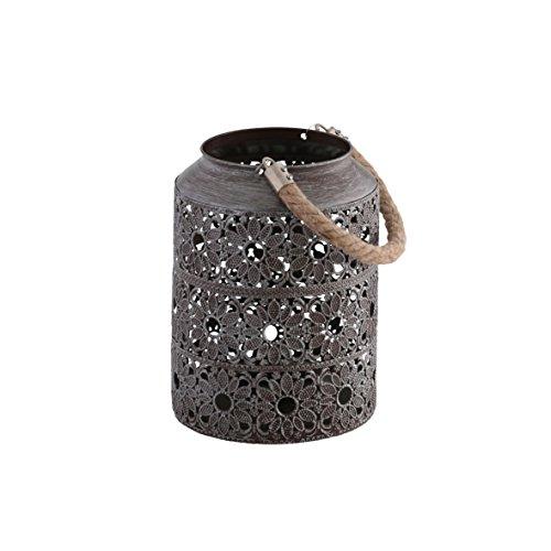 greemotion Metall braun gebürstet, Gartenlampe im edlen Blumendesign, Windlicht mit Praktischem Seilgriff, ideal für Kerzen und Teelichter, Maße: ca. Ø 16,5 x H 22 cm Laterne, 16,5x16,5x22 cm