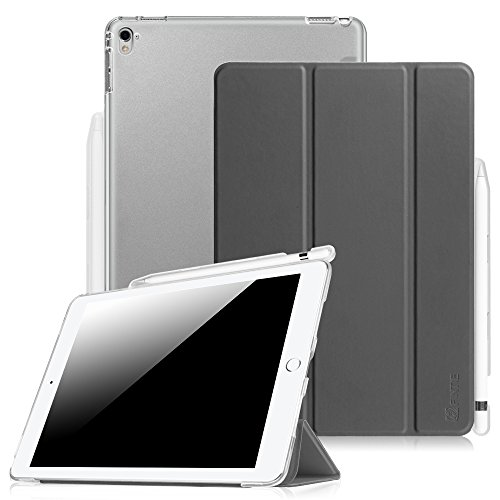 Fintie Hülle kompatibel mit iPad Pro 9.7 2016, Ultradünne Superleicht Schutzhülle mit transparenter Rückseite Abdeckung mit eingebautem Apple Pencil Halter, Auto Schlaf / Wach Funktion, Himmelgrau