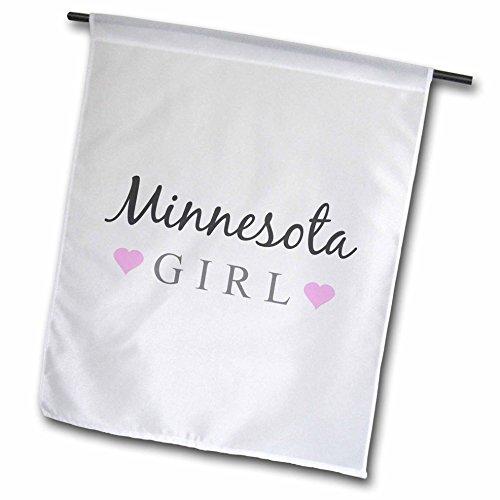 3drose FL _ 161855_ 1Minnesota girl-home State pride-usa-united Staaten von america-text und Cute Girly Pink Hearts Garden Flagge, 12von 18 (Minnesota Girl)